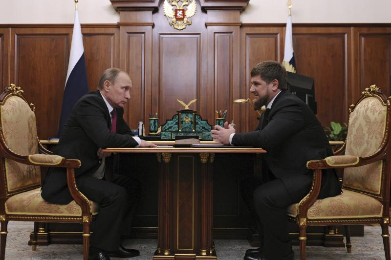 Russian President Vladimir Putin meets with Chechen leader Ramzan Kadyrov at the Kremlin in Moscow, Russia, December 10, 2015.