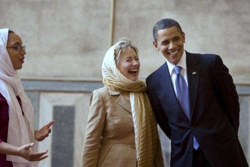 U.S. President Barack Obama and U.S. Secretary of State Hillary Clinton in Cairo, June 2009.