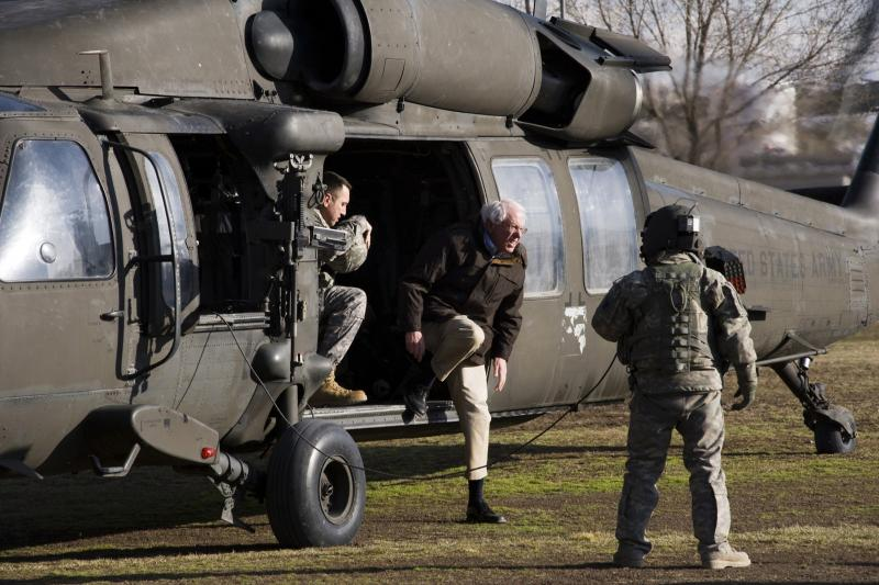 Sen. Bernie Sanders (I-VT) steps off a Black Hawk helicopter while visiting the Afghan National Police Academy in Kabul, Afghanistan, February 2011.