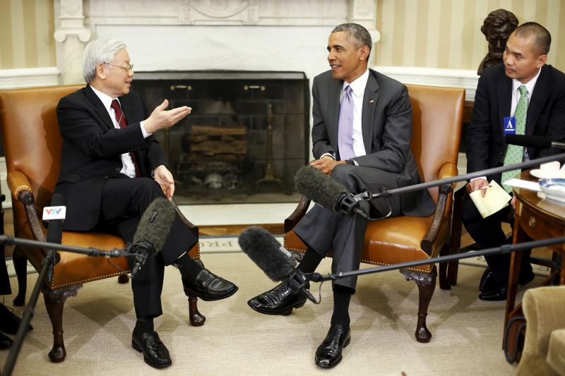 U.S. President Barack Obama with Vietnamese Communist Party General Secretary Nguyen Phu Trong in the Oval Office, July 2015. Although Washington and Hanoi have grown closer in recent years, Vietnam retains strong ties with China.