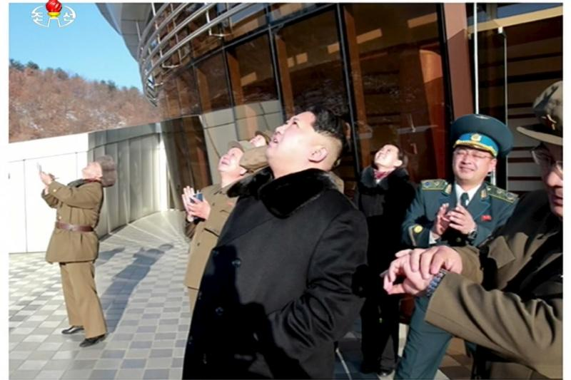North Korean leader Kim Jong Un watches a long range rocket launched into the air in this still image taken from KRT footage and released by Yonhap, February 7, 2016.