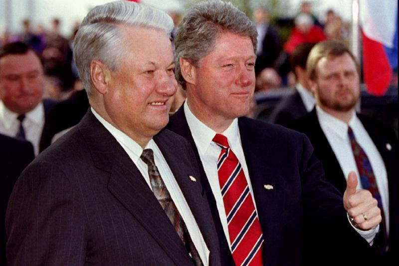 Bill Clinton and Boris Yeltsin in Vancouver, April 1993. U.S. and European leaders did very little economically to shape the direction of Russia under Yeltsin.