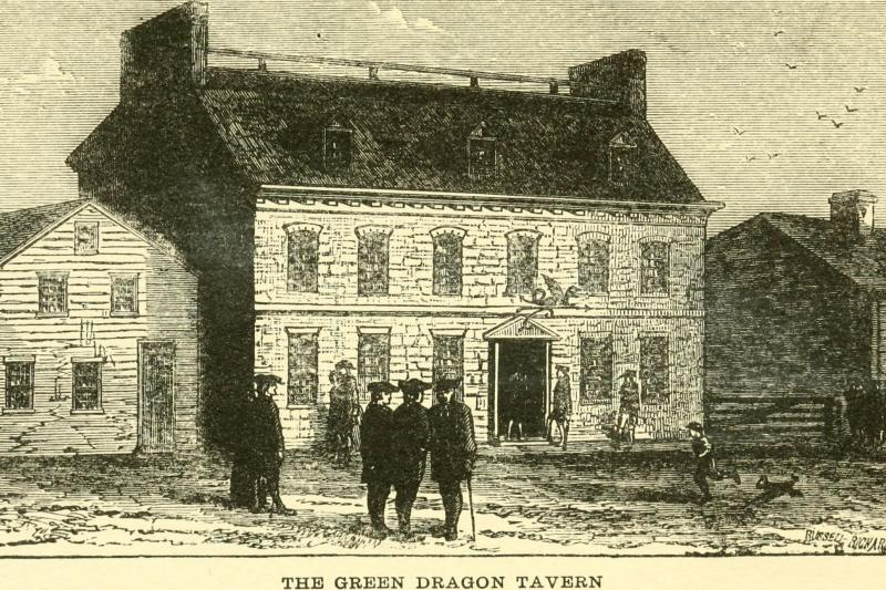 An illustration of the Green Dragon Tavern, a public house used as a tavern and meeting place located on Union Street in Boston's North End.