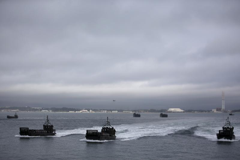 NATO amphibious ships participate in NATO Exercise Trident Juncture in Troia, near Setubal, Portugal November 5, 2015.