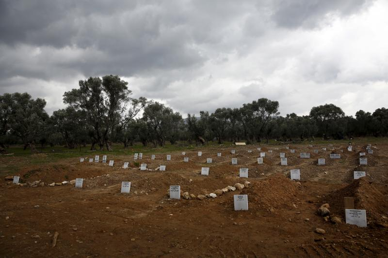 Graves of unidentified refugees and migrants who drowned at sea during an attempt to cross a part of the Aegean Sea from the Turkish coast are seen at a cemetery near the village Kato Tritos on the Greek island of Lesbos, February 4, 2016.