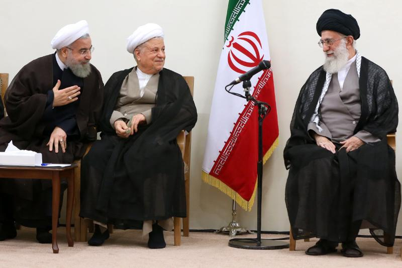 Iranian President Hassan Rouhani, Former President Akbar Hashemi Rafsanjani, and Supreme Leader Ali Khamenei during a meeting of the Assembly of Experts, September 2015.