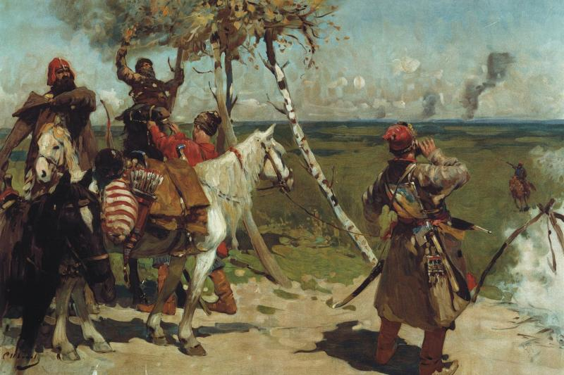 At the Southern Border of Moscva state by Sergey Vasilievich Ivanov, 1907.