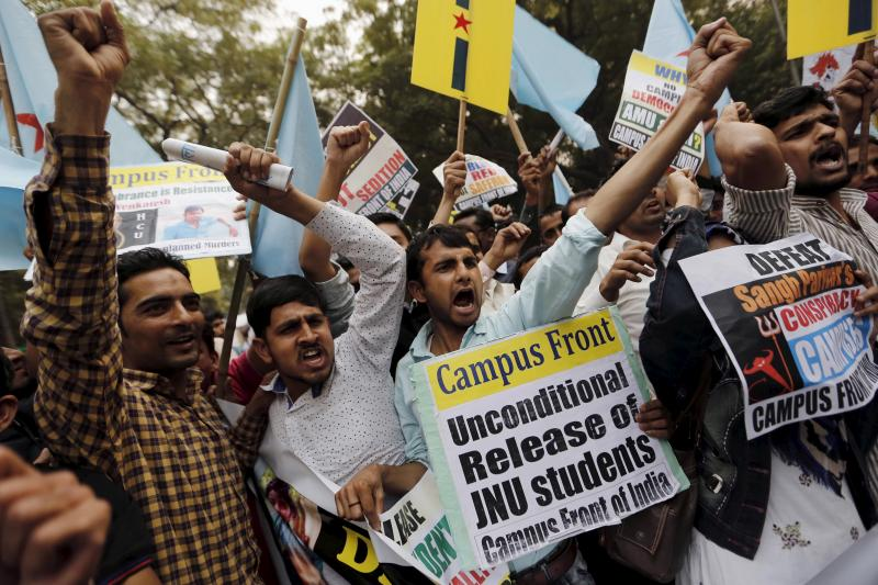 Demonstrators demand the release of Jawaharlal Nehru University student Kanhaiya Kumar at a protest march in New Delhi, India, March  2016.