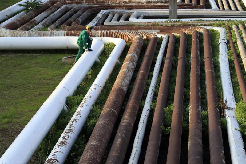 An employee walks on top of pipelines at Hungarian oil and gas group MOL's main Danube refinery in Szazhalombatta, October 2013.