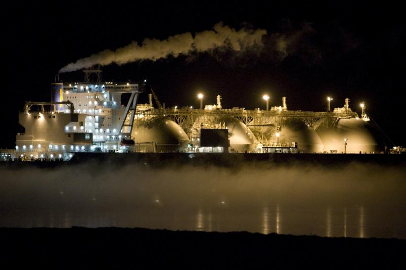 A Japanese liquefied natural gas (LNG) tanker anchored near an LNG plant on Sakhalin island near the town of Korsakov, Russia, February 2009.