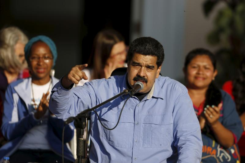 Venezuela's President Nicolas Maduro speaks during a meeting with supporters at Miraflores Palace in Caracas, March 2016.