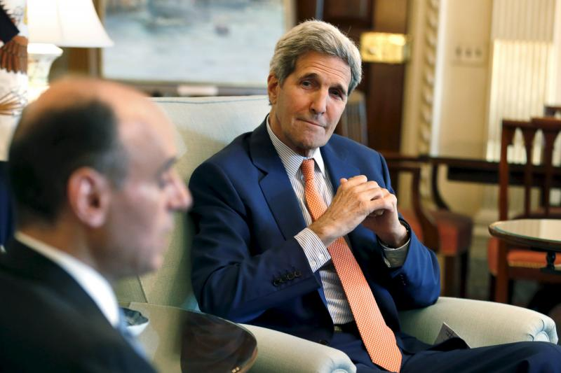 U.S. Secretary of State John Kerry (R) meets with Saudi Foreign Minister Adel al-Jubeir at the State Department in Washington, July 16, 2015.