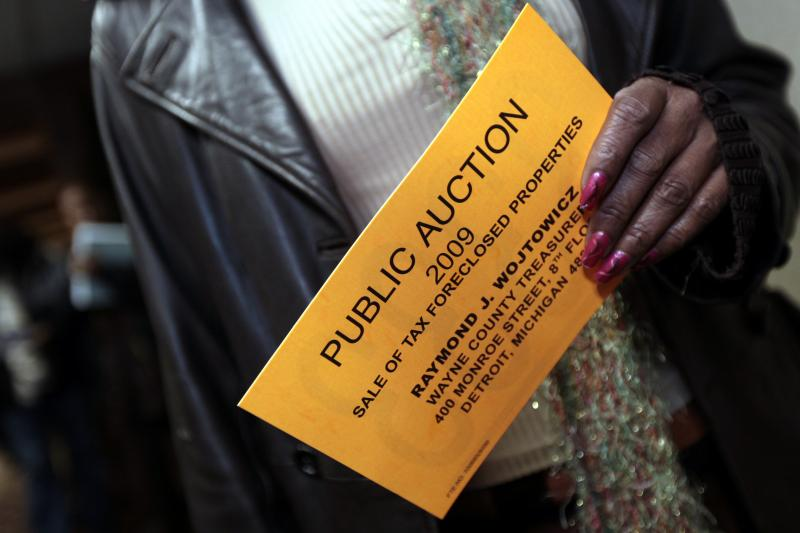 At a tax foreclosures auction of 9,000 properties in Detroit, Michigan, October 2009.