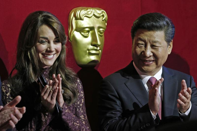 Xi Jinping and Kate Middleton at a BAFTA presentation at Lancaster House in London, October 2015.