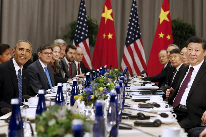 U.S. President Barack Obama and Chinese President Xi Jinping at the Nuclear Security Summit in Washington, March 2016.
