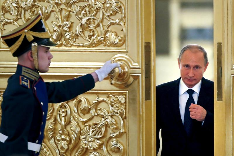 Russian President Vladimir Putin at the Kremlin, October 2015. Putin's governance style relies on interpretation rather than command and control.