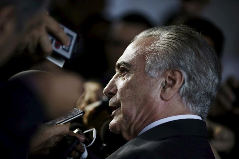 Brazil's Vice President Michel Temer speaks during a news conference in Brasilia, Brazil, April 11, 2016.