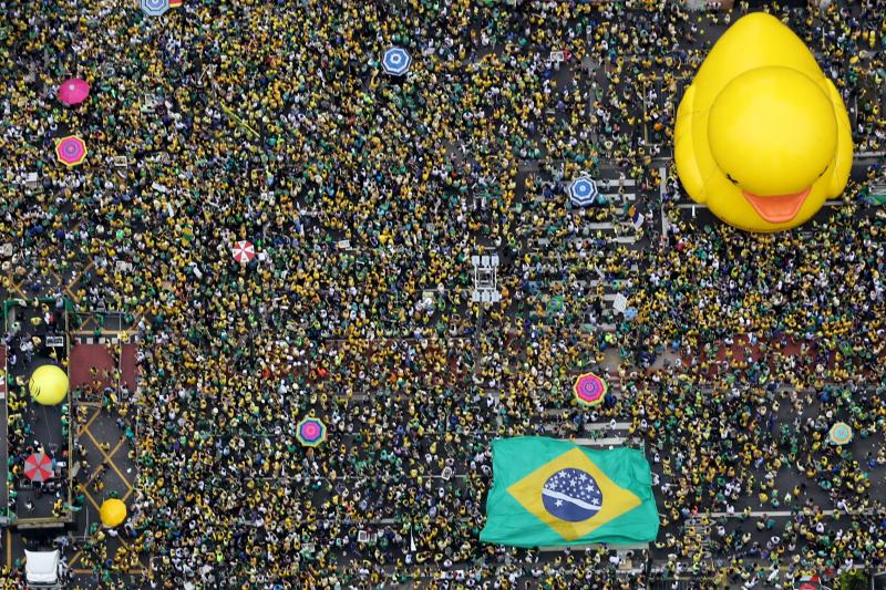 Demonstrators attend a protest against Brazil's President Dilma Rousseff, part of nationwide protests calling for her impeachment, in Sao Paulo, Brazil, March 13, 2016.