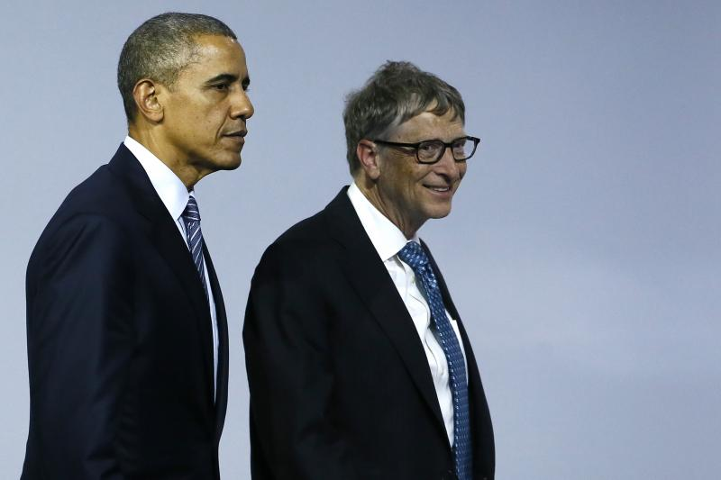 U.S. President Barack Obama and Bill Gates after the launch of 'Mission Innovation: Accelerating the Clean Energy Revolution' at the World Climate Change Conference in Paris, France, November 2015.
