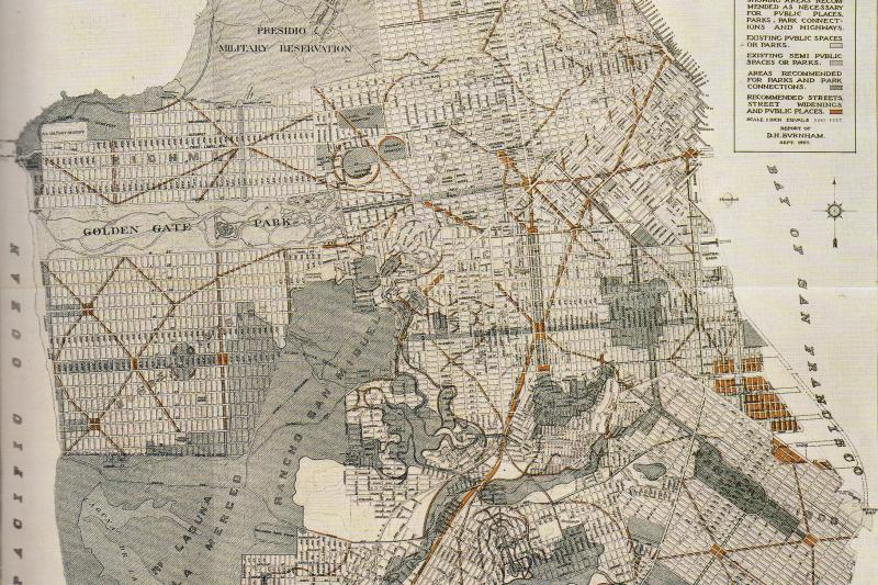 The post-earthquake plan for San Francisco by Daniel Burnham and William Bennett, published 1906.