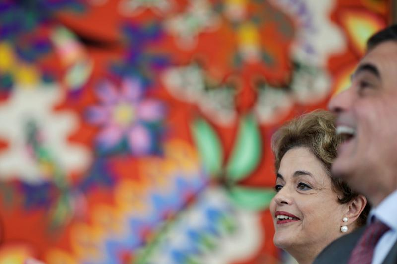 Suspended Brazilian President Dilma Rousseff and former General Attorney Jose Eduardo Cardozo attend a news conference with foreign media in Brasilia, Brazil, May 13, 2016.