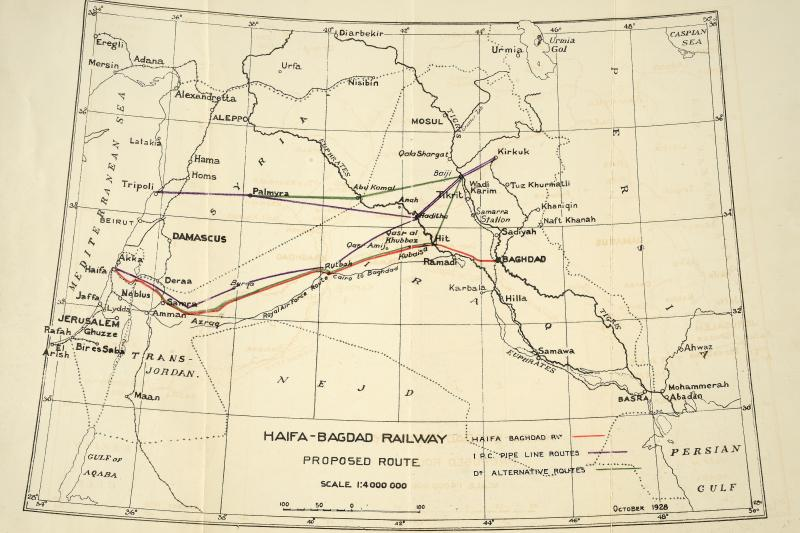 Proposed route for the Haifa-Baghdad Railway, October 1928.