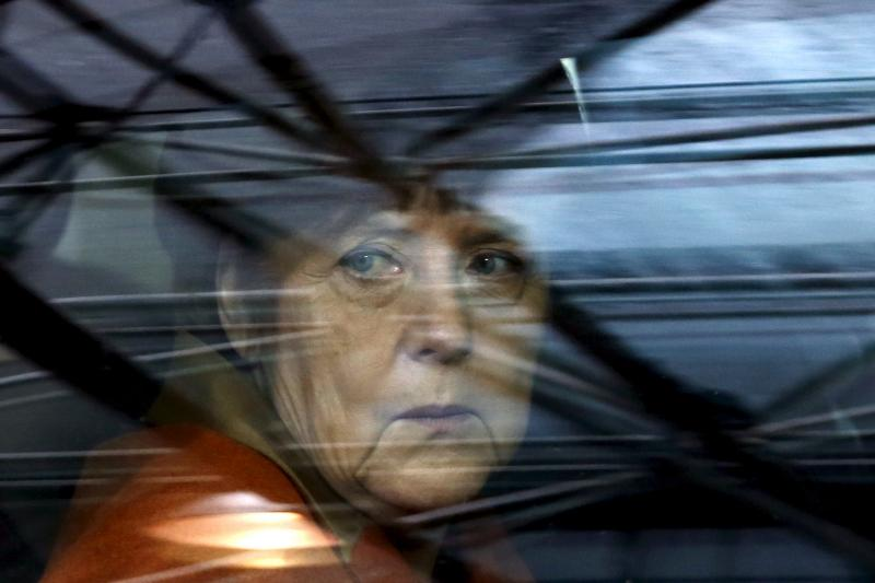 Germany's Chancellor Angela Merkel arrives at an EU-Turkey summit in Brussels, as the bloc looks to Ankara to help it curb the influx of refugees and migrants flowing into Europe, March 2016.