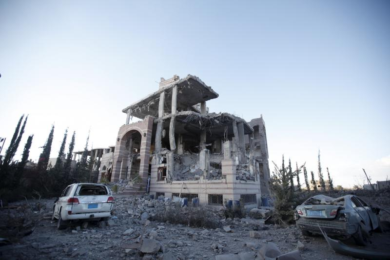 A house destroyed by a Saudi-led air strike in Yemen's capital Sanaa January 2016.