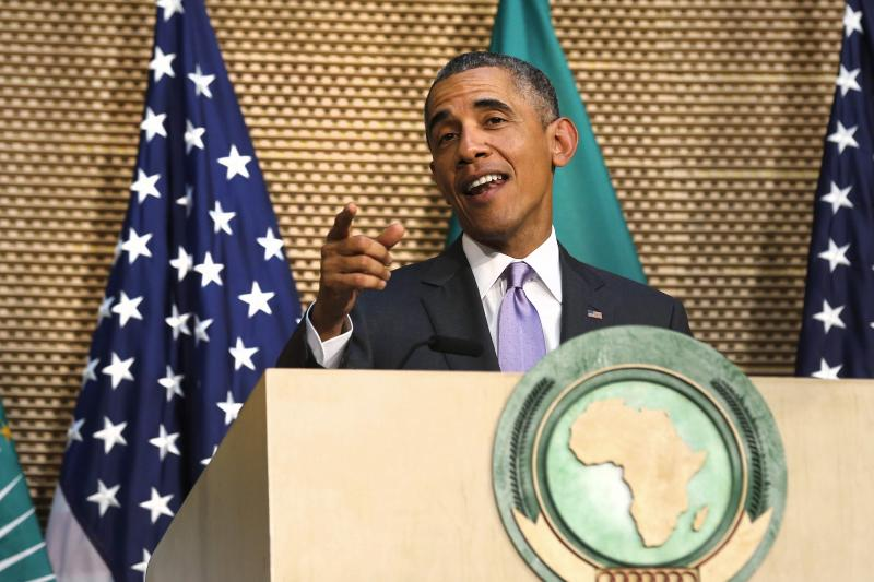 Obama talks about presidential term limits during remarks at the African Union in Addis Ababa, Ethiopia, July 2015.