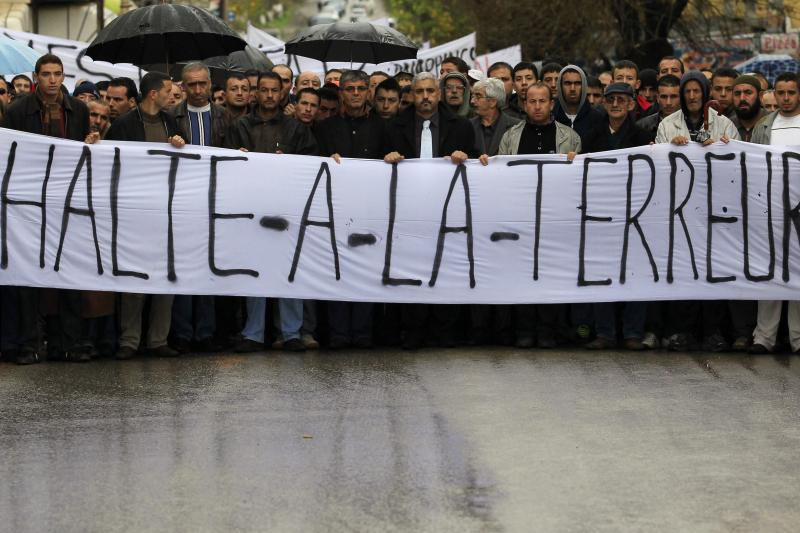 Residents from the Berber region and regional party officials protest against al Qaeda's north African wing in the mountainous Kabylie region, Algeria, November 2010.