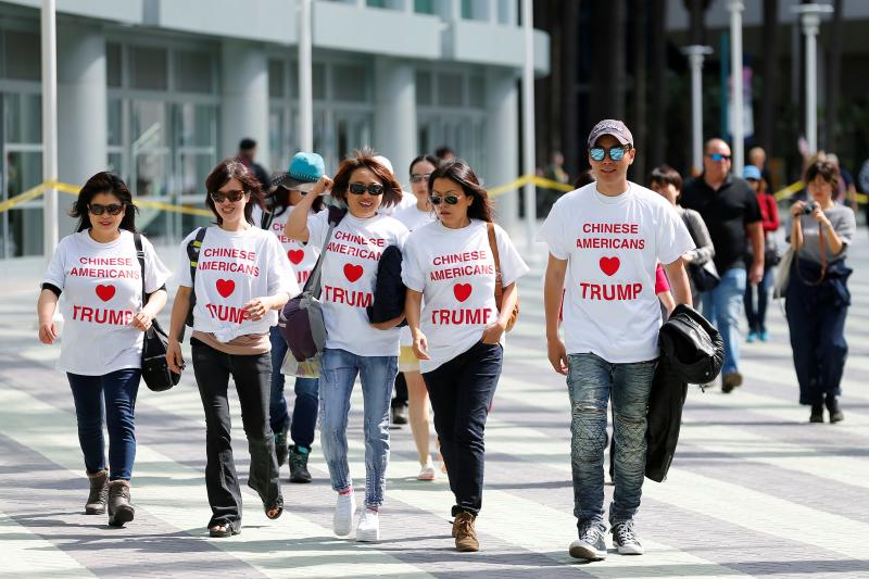 Trump supporters arrive before Trump speaks at a campaign event in Anaheim, California, May 2016.