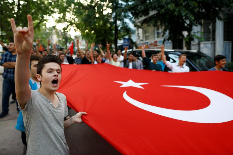Turkish ultra-nationalists shout slogans in front of the German Consulate in Istanbul, Turkey, June 2, 2016.