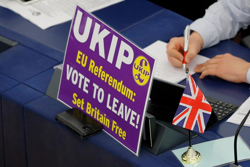 A United Kingdom Independence Party (UKIP) and European Parliament member takes part in a voting session in Strasbourg, France, April 2016.