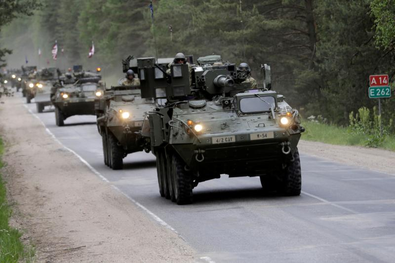U.S. troops drive during tactical road march Dragoon Ride II near Daugavpils, Latvia, June 6, 2016.