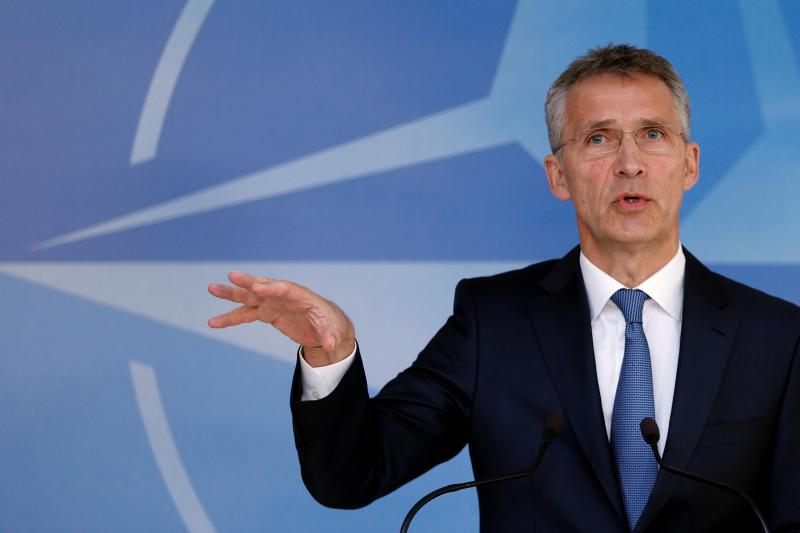 NATO Secretary-General Jens Stoltenberg briefs the media ahead of a NATO foreign ministers meeting at the Alliance headquarters in Brussels, Belgium, May 19, 2016.