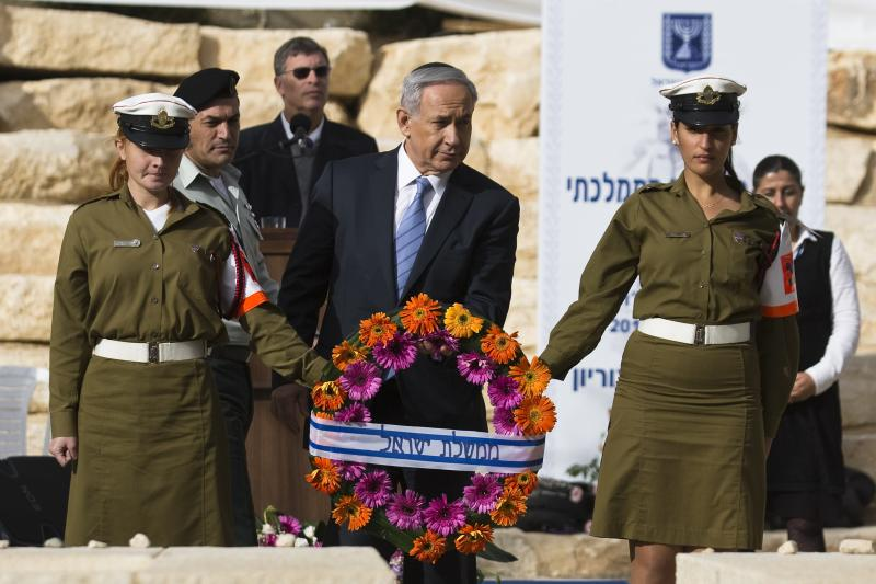 Changing of the guard: Netanyahu at a memorial service for Ben-Gurion, November 2014.