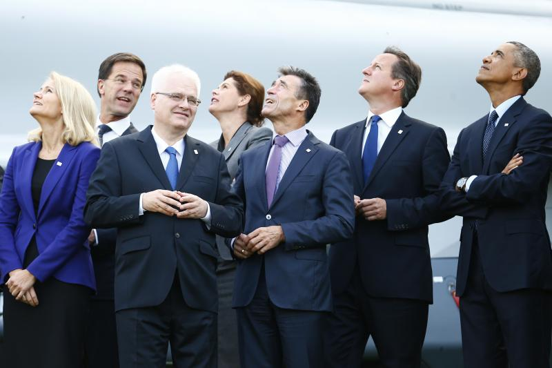 NATO leaders watch a fly-past by Royal Air Force planes during the NATO summit at the Celtic Manor resort, near Newport, Wales September 2014.