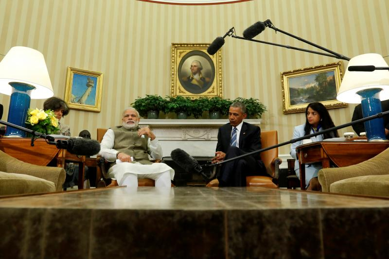 India's Prime Minister Narendra Modi and U.S. President Barack Obama make remarks to reporters after their meeting in the Oval Office at the White House in Washington, U.S. June 7, 2016.