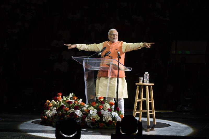India's Prime Minister Narendra Modi gestures while speaking at Madison Square Garden in New York, September 2014.