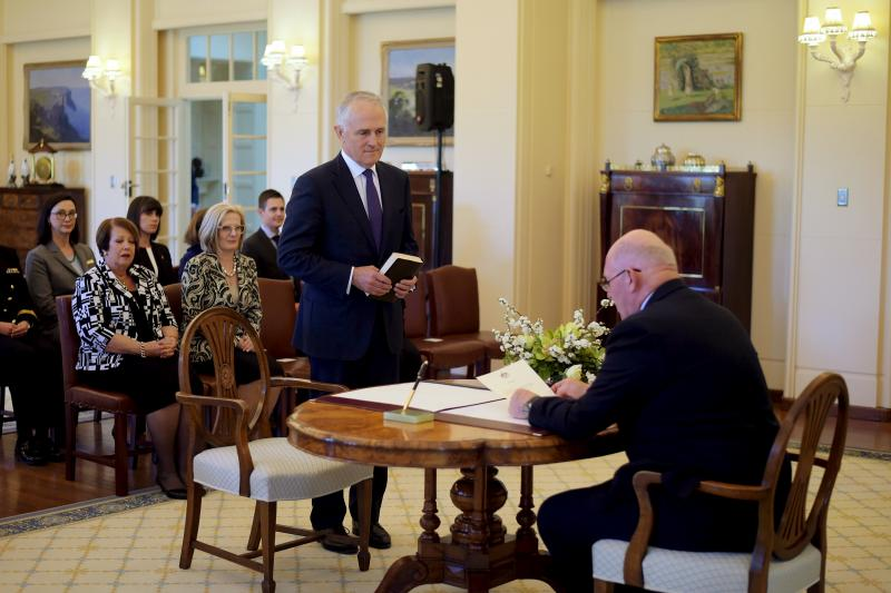 Malcolm Turnbull is sworn in by Australia's Governor-General Peter Cosgrove as Australia's 29th prime minister at Government House in Canberra, September 2015.