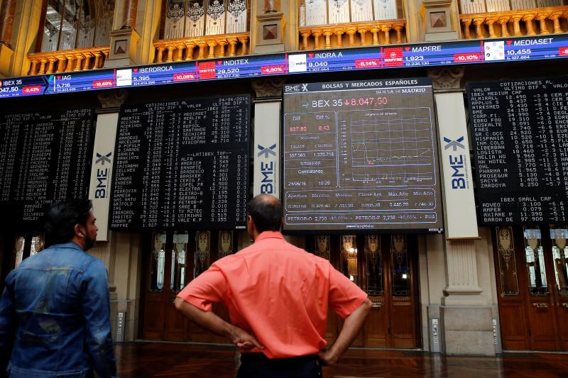Electronic boards are seen at the Madrid stock exchange which plummeted after Britain voted to leave the European Union in the EU BREXIT referendum, in Madrid, Spain, June 24, 2016.