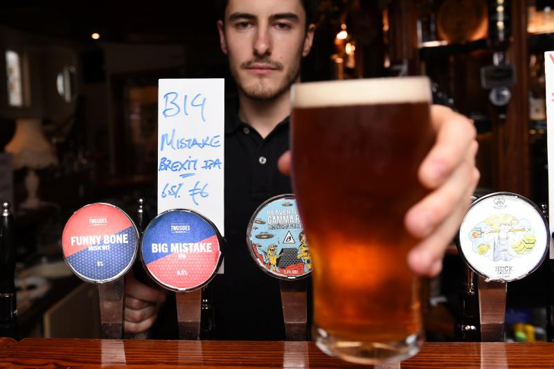 """A bar in Dublin has specially made a Brexit beer for the results of the British EU Referendum called """"Big Mistake"""" in Ireland, June 2016."""