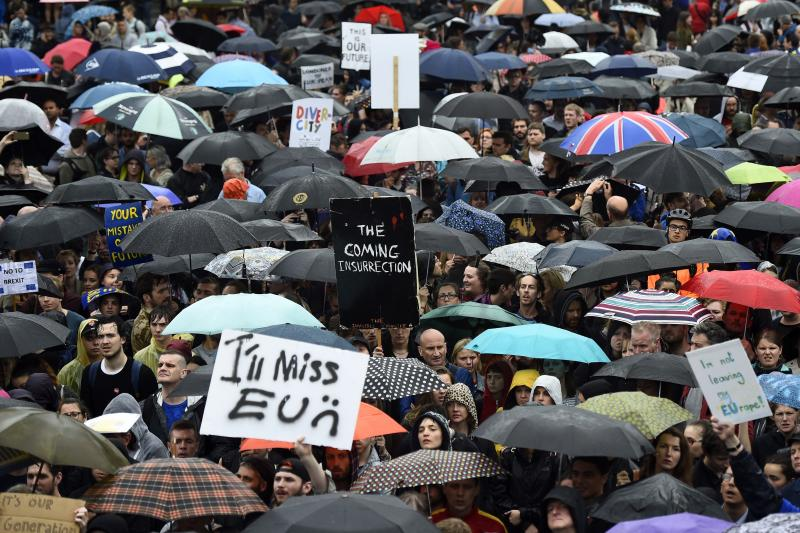 Demonstrators take part in a protest aimed at showing London's solidarity with the European Union following the recent EU referendum, in London, June 2016.