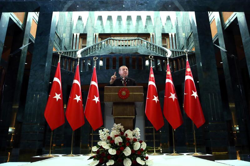 Turkish President Erdogan makes a speech during an iftar event in Ankara, Turkey, June 27, 2016.