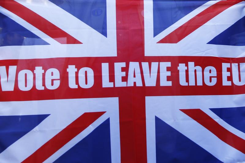 A Vote Leave supporter holds up a Union flag outside Downing Street after Britain voted to leave on the European Union in London, Britain, June 24, 2016.