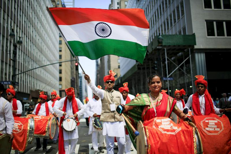 People take part in the 35th India Day Parade in New York August 16, 2015.