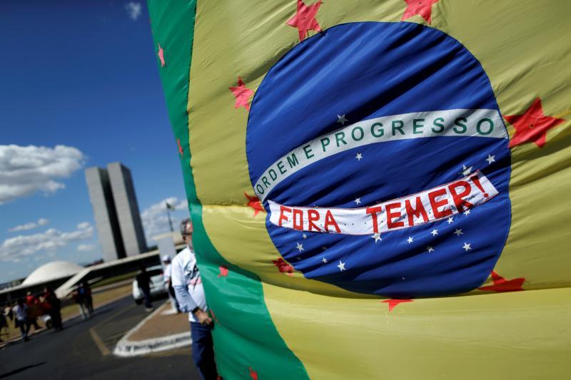Demonstrators in Brasilia protest the interim presidency of Michel Temer, July 2016.