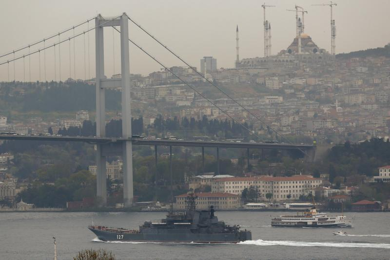 A Russian navy ship under way in the Bosphorus, April 2016.