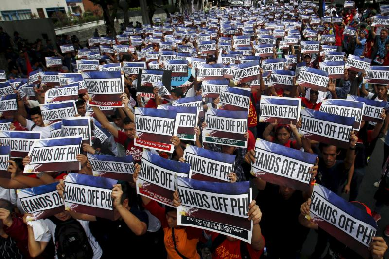 A protest over the disputes in the South China Sea outside the Chinese consulate in Metro Manila, June 2015.