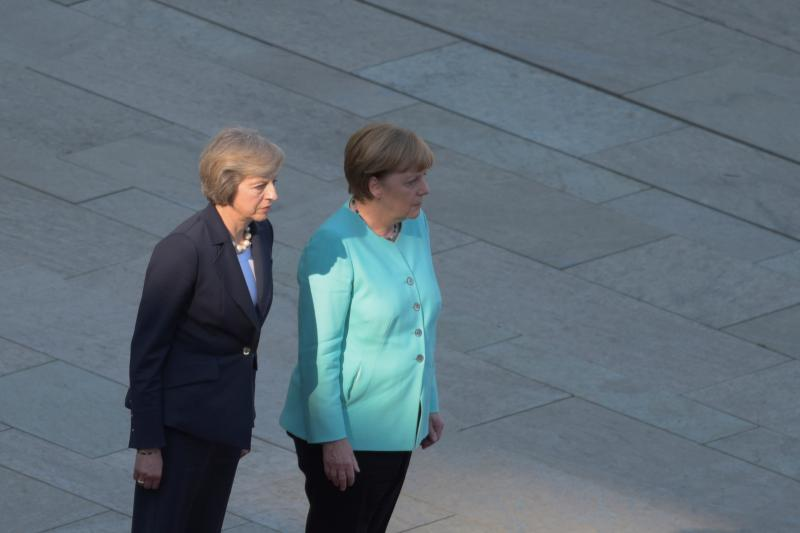 German Chancellor Angela Merkel and Britain's Prime Minister Theresa May (L)  in Berlin, Germany July 20, 2016.